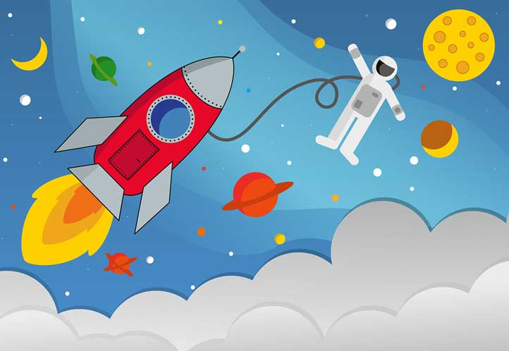 Toddlers abstract outer space scene wall mural wallpaper