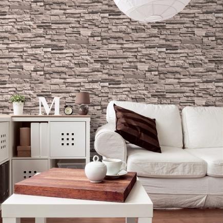 Carta da parati legno mattoni pietra for Carta da parati effetto muro mattoni