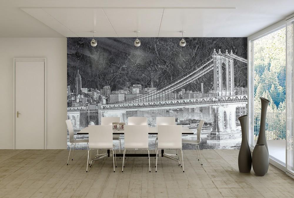 carta da parati ponte di brooklyn new york vintage - Nanni Giancarlo