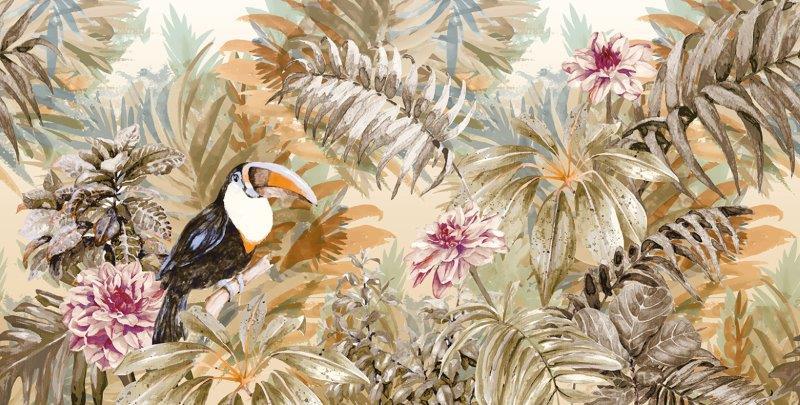 carta da parati stile esotico tropicale con tucano - Nanni Giancarlo