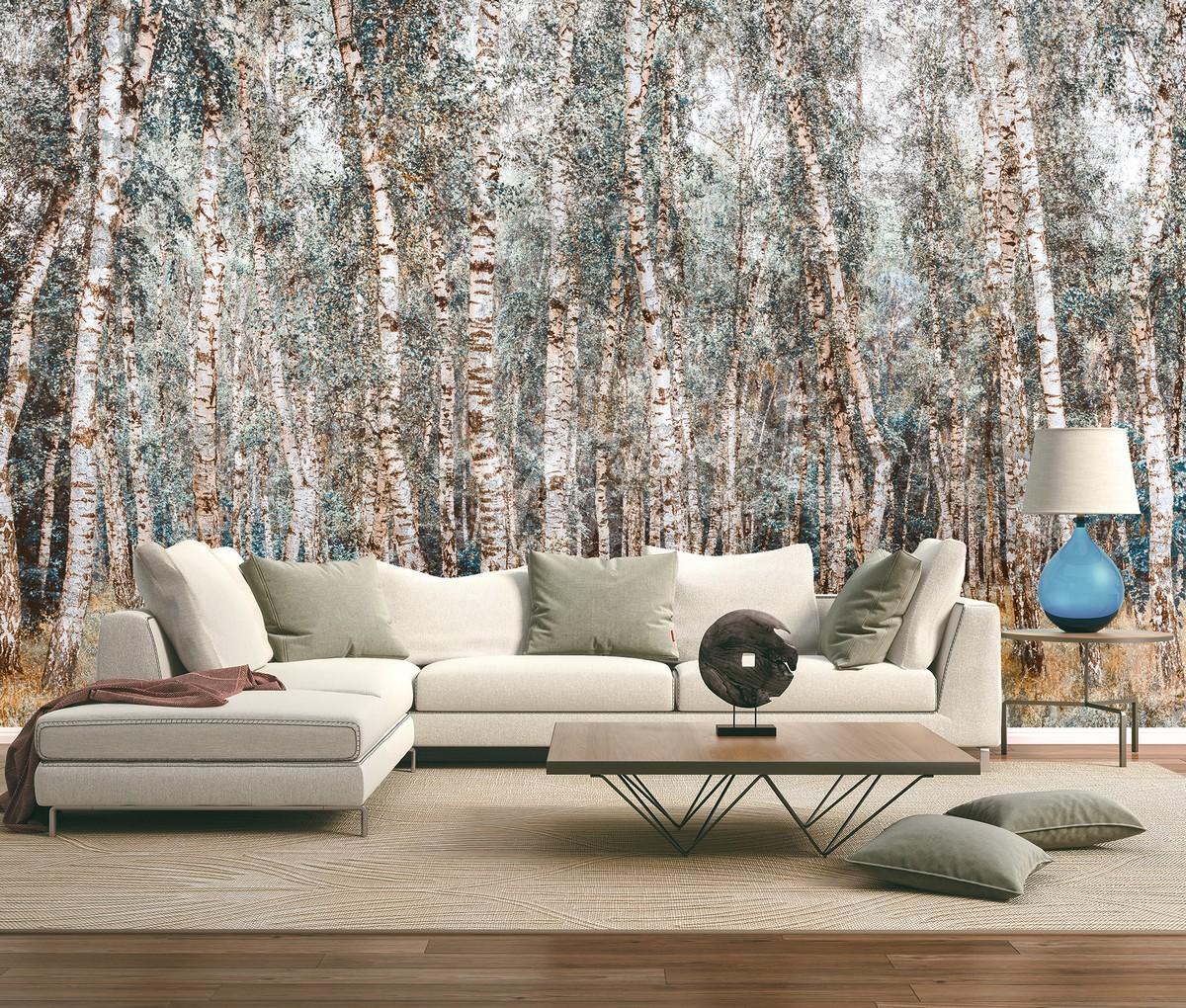 Carta da parati foresta alberi betulla - Colore 2 - Nanni Giancarlo