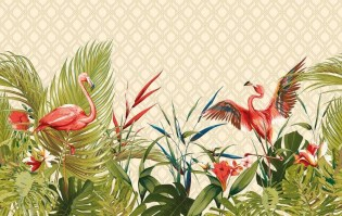FLAMINGO | Carta da parati con fenicotteri - Colore 0